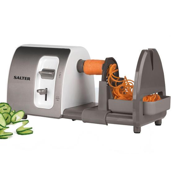 Salter EK2299 3 in 1 Side Loading Electric Fruit and Vegetable Spiralizer, 15 W