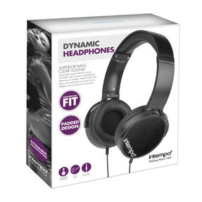 Intempo EE1264 Dynamic Black Over-ear Headphones Thumbnail 3