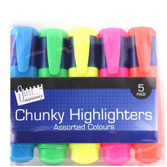 Just Stationery 4070/72 Chunky Highlighter (Pack of 5)