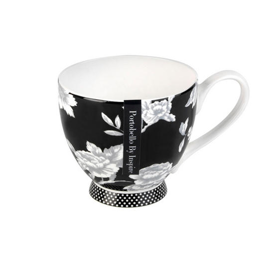Portobello CM03398 Footed Regency Black Fine Bone China Mug