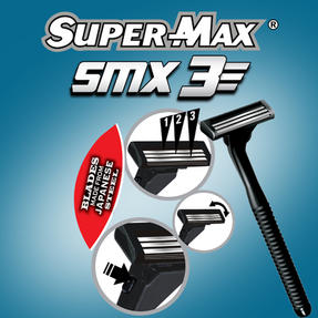 Supermax 226242 3 Blade Razor with 10 Cartridges Thumbnail 2