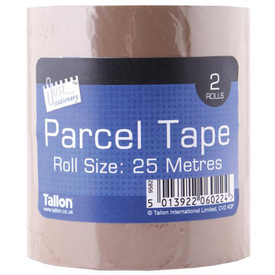 Just Stationery 6022 25m Parcel Tape, Pack of 2