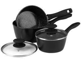 Russell Hobbs Stone Collection 3 Piece Saucepan Set with 24/28cm Frying Pans, Black Thumbnail 2