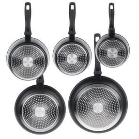 Russell Hobbs Stone Collection 3 Piece Saucepan Set with 24/28cm Frying Pans, Black Thumbnail 5