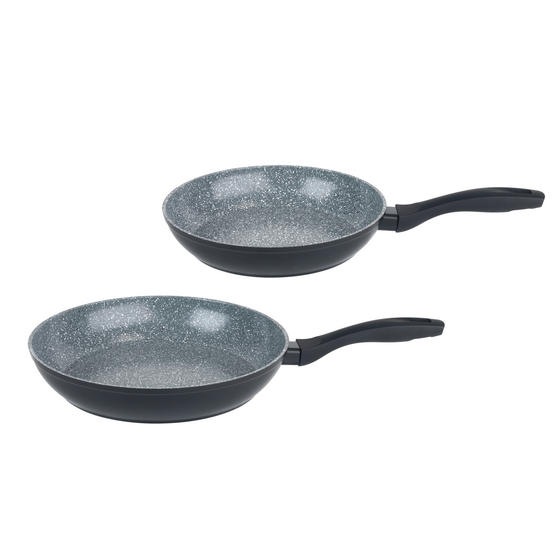 Russell Hobbs Stone Collection Set of 2 Frying Pans, 24/28cm, Grey