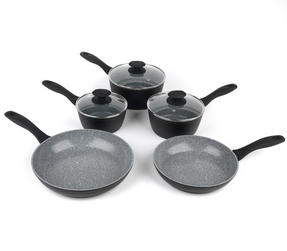 Russell Hobbs Stone Collection 3 Piece Saucepan Set with 24/28cm Frying Pans, Grey Thumbnail 1