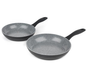 Russell Hobbs Stone Collection 3 Piece Saucepan Set with 24/28cm Frying Pans, Grey Thumbnail 3