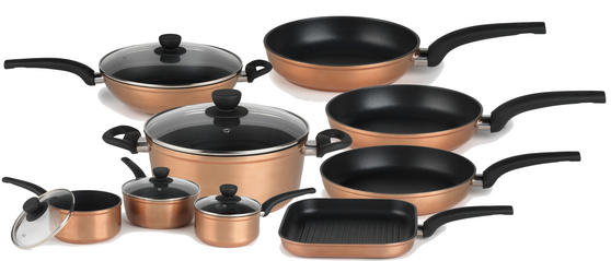Salter Copper Effect 9 Piece Kitchen Pan Set