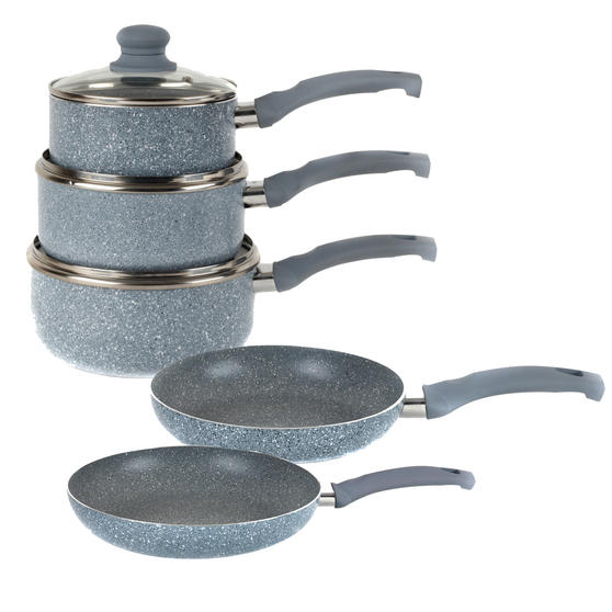 Russell Hobbs Stone Collection 3 Piece Saucepan Set with 24/28cm Frying Pans, Daybreak