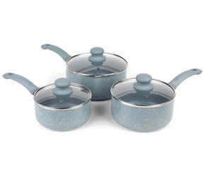 Russell Hobbs Stone Collection 3 Piece Saucepan Set with 24/28cm Frying Pans, Daybreak Thumbnail 2
