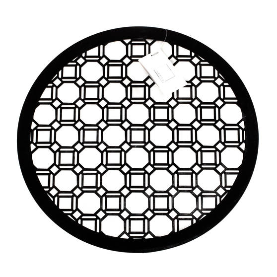 Inspire Luxury Lacquered Octagon Round Placemat, 35cm, MDF, Black, Set of 4