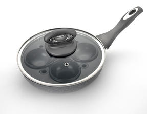 Salter Marble Collection 4 Cup Egg Poaching Pan, Grey Thumbnail 5