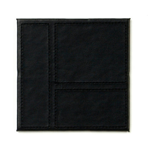 Inspire HY633212 Luxury Patchwork Leather Coasters, 10 x 10cm, Faux Leather, Black, Set of 4