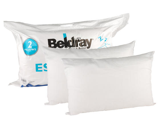 Beldray Esssential Polycotton Pillows, Twin Pack, White