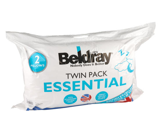 Beldray Esssential Polycotton Pillows, Twin Pack, White Thumbnail 3