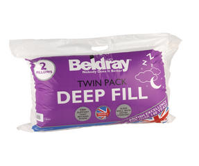 Beldray MFBEL07297 Deep Fill Pillows, Twin Pack, White Thumbnail 3