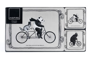 Inspire TW290434 Luxury Animals On Bikes Placemat and Coaster, Hardboard, Grey, Set of 4