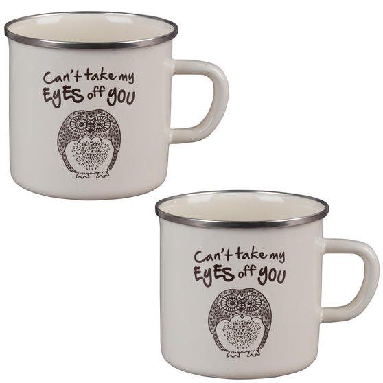 Cambridge BW0397508 Enamel Owl Eyes Mug Set of 2