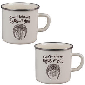 Cambridge BW0397508 Enamel Owl Eyes Mug Set of 2 Thumbnail 1