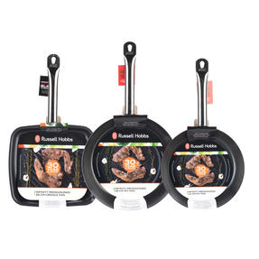 Russell Hobbs Infinity 24/28cm Frying Pans with 26cm Griddle Pan, Black Thumbnail 4