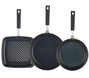 Salter Pan For Life 24/28cm Frying Pans with 26cm Griddle Pan, Black Thumbnail 2