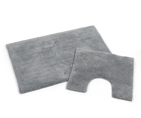 Beldray LA038951 2 Piece Latex Backed Plain Grey Bathroom Mat Set