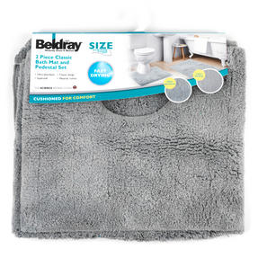 Beldray LA038951 2 Piece Latex Backed Plain Grey Bathroom Mat Set Thumbnail 4