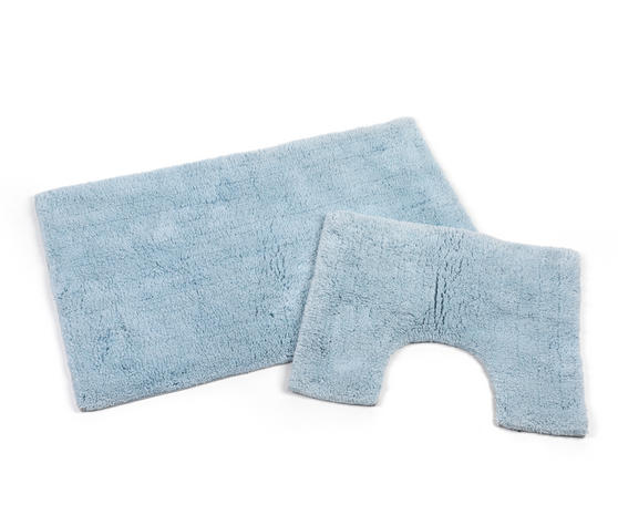 Beldray 2 Piece Latex Backed Plain Blue Bathroom Mat Set