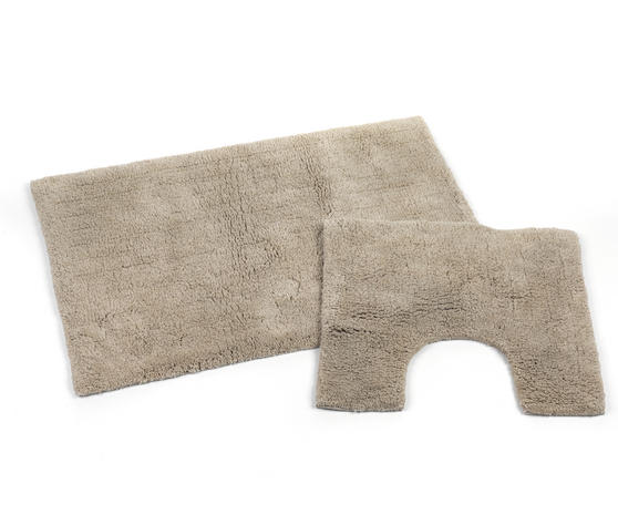 Beldray 2 Piece Latex Backed Plain Natural Bathroom Mat Set