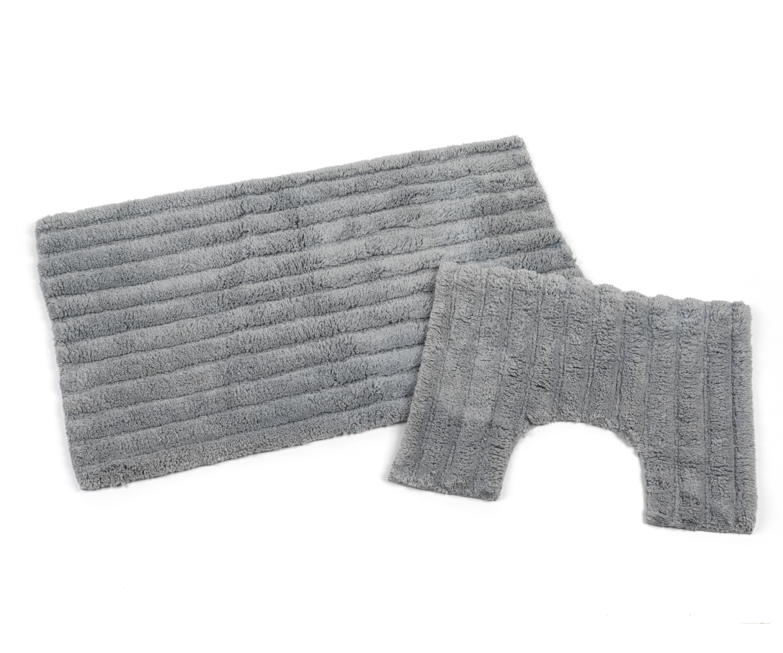 Beldray 2 Piece Latex Backed Striped Grey Bathroom Mat Set Beldray