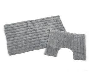 Beldray LA038975 2 Piece Latex Backed Striped Grey Bathroom Mat Set