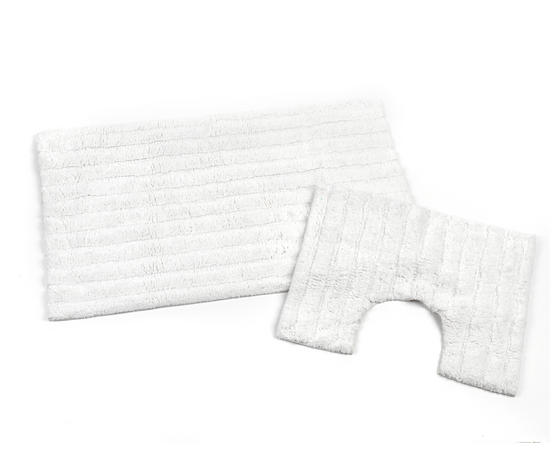 Beldray 2 Piece Latex Backed Striped White Bathroom Mat Set