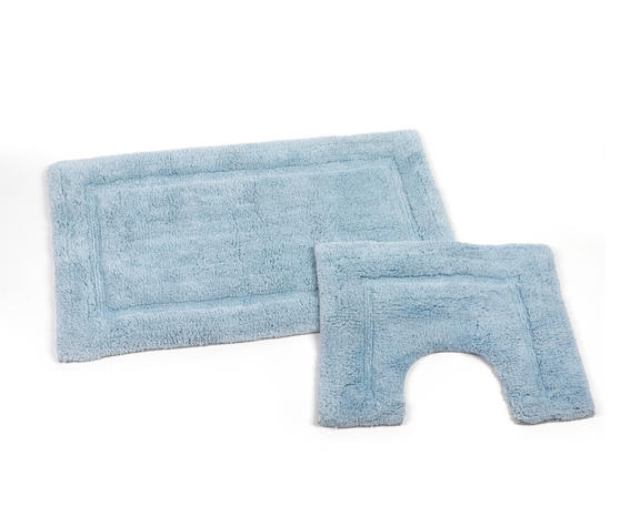 Beldray LA038999 2 Piece Latex Backed Embossed Blue Bathroom Mat Set
