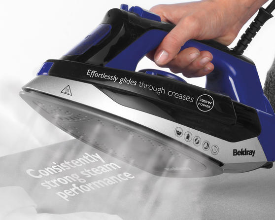 Beldray Max Steam Pro Steam Iron, 3000 W, Black/Blue Thumbnail 4