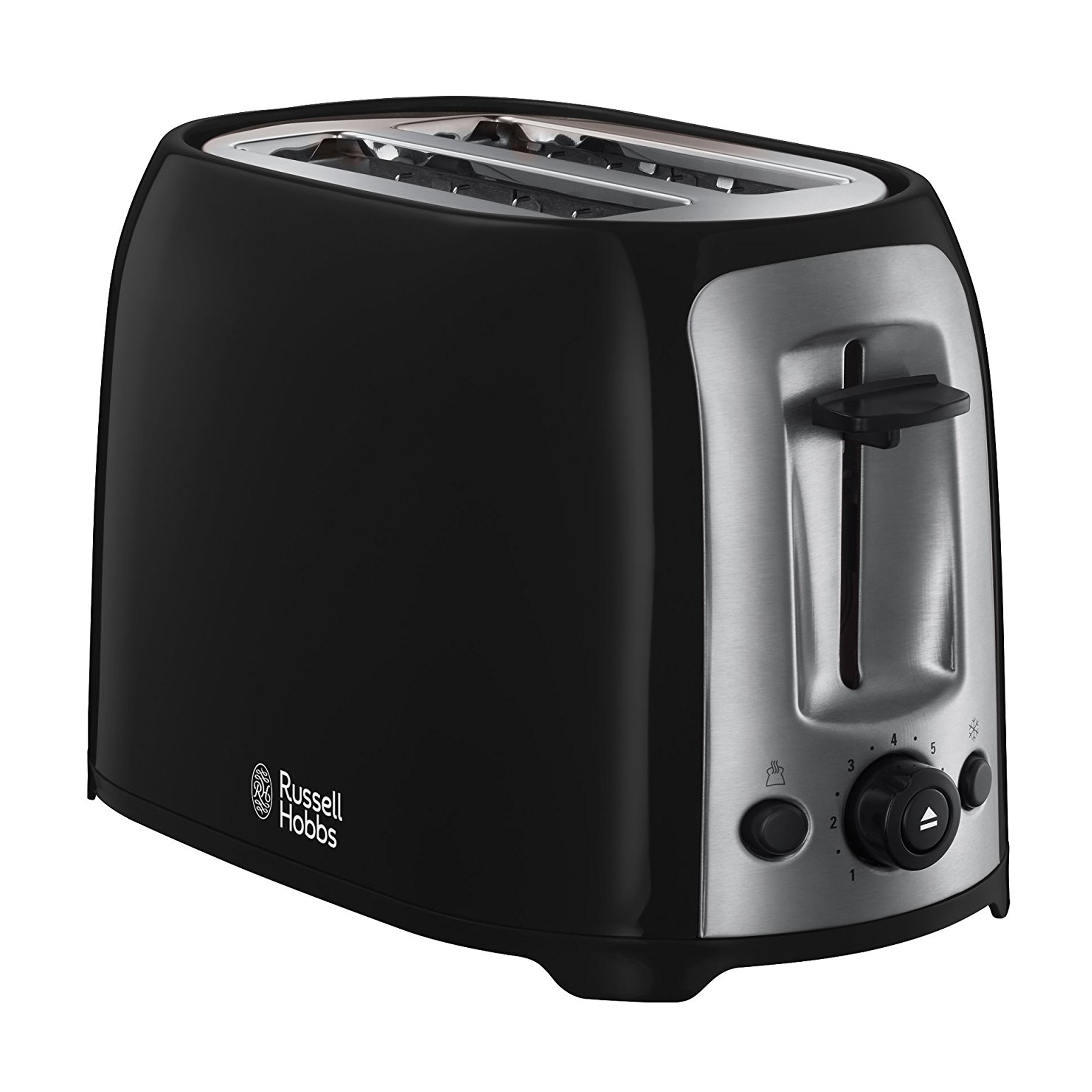 russell hobbs 23862 darwin 2 slice toaster black silver kettles toasters no1brands4you. Black Bedroom Furniture Sets. Home Design Ideas