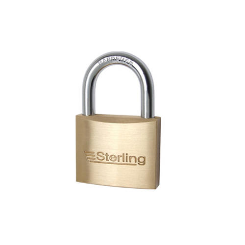 Sterling BPL140 Double Locking Brass Padlock with Hardened Steel Plated Shackle, 40mm, Brass/Chrome