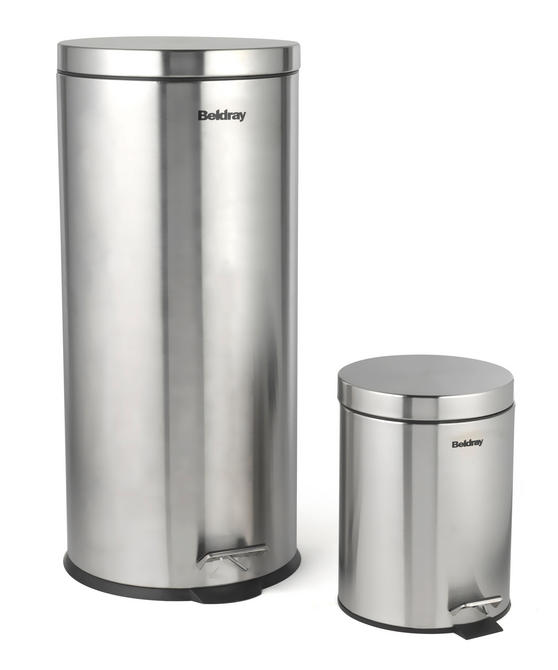 Beldray 30 Litre and 5 Litre Round Pedal Bin Set, Stainless Steel Thumbnail 2