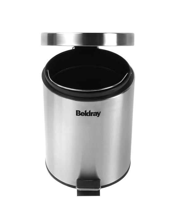 Beldray 30 Litre and 5 Litre Round Pedal Bin Set, Stainless Steel Thumbnail 4