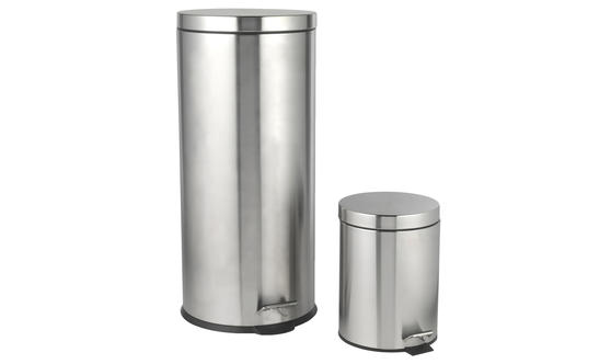 Beldray 30 Litre and 5 Litre Round Pedal Bin Set, Stainless Steel Thumbnail 1