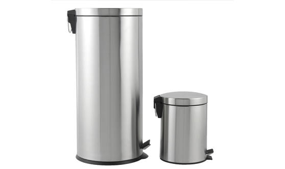 Beldray 30 Litre and 5 Litre Round Pedal Bin Set, Stainless Steel Thumbnail 3