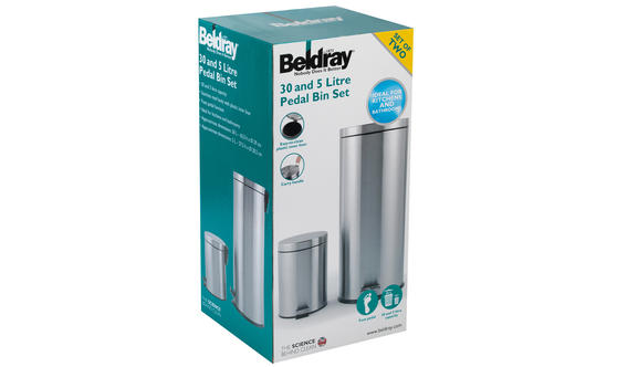 Beldray 30 Litre and 5 Litre Round Pedal Bin Set, Stainless Steel Thumbnail 6