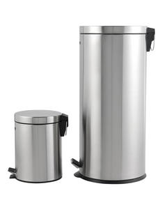 Beldray LA038050SS 30 Litre and 5 Litre Round Pedal Bin Set, Stainless Steel Thumbnail 3