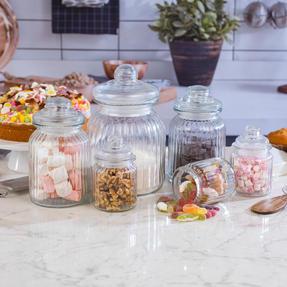 Giles & Posner QCJ186750 Small Ribbed Glass Candy Jar Thumbnail 7
