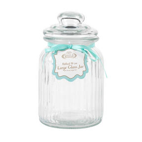 Giles & Posner QCJ186699 Large Ribbed Glass Candy Jar, Set of Two Thumbnail 3