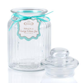 Giles & Posner QCJ186699 Large Ribbed Glass Candy Jar, Set of Two Thumbnail 5