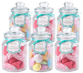 Giles & Posner QCJ186699 Large Ribbed Glass Candy Jar Set of 6