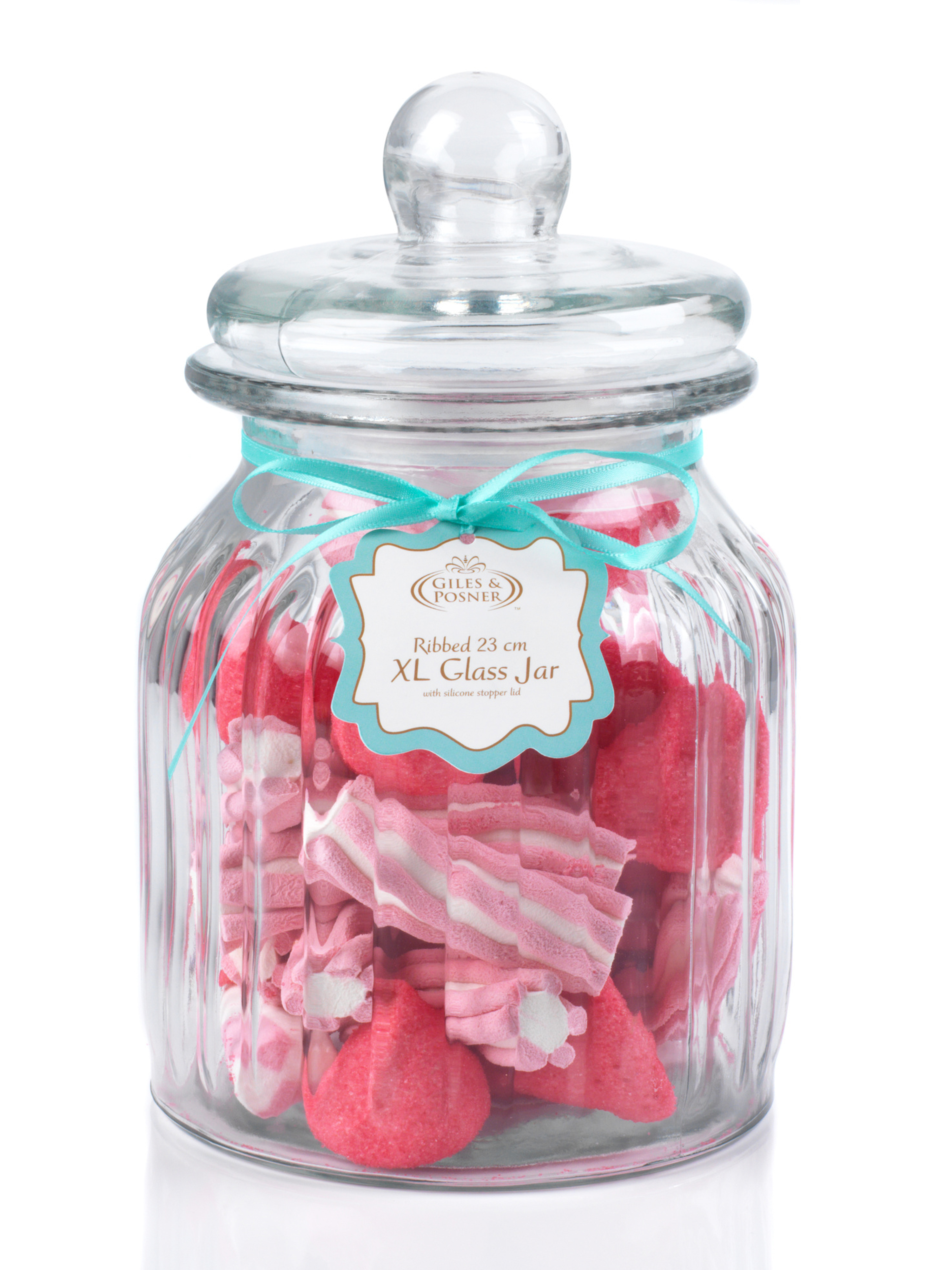 Very Giles & Posner Extra Large Ribbed Glass Candy Jar | Party Products  SH15