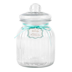 Giles & Posner QCJ186675 Extra Large Ribbed Glass Candy Jar, Set of Two Thumbnail 3