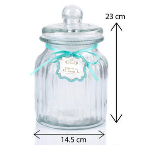 Giles & Posner QCJ186675 Extra Large Ribbed Glass Candy Jar, Set of Two Thumbnail 6