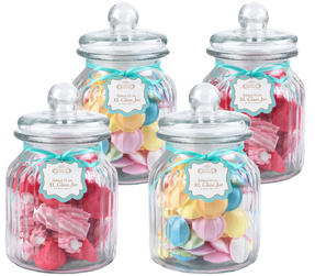 Giles & Posner QCJ186675 Extra Large Ribbed Glass Candy Jar Set of 4